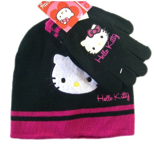 1fce5fceb4d Sanrio Black and Pink Hello Kitty Winter Set (2 pc) - Hello Kitty Beanie  and Mittens