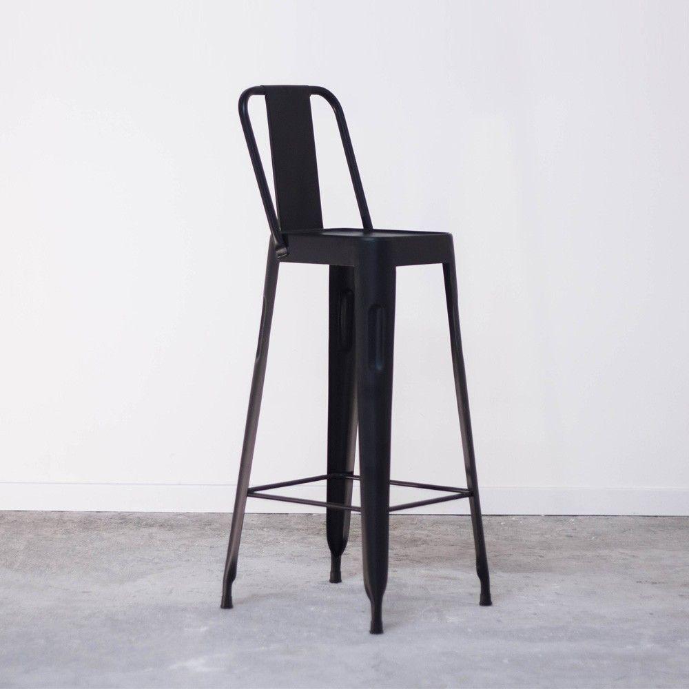 Chaise Haute Noire De Bar Style Tolix Pas Cher En Métal