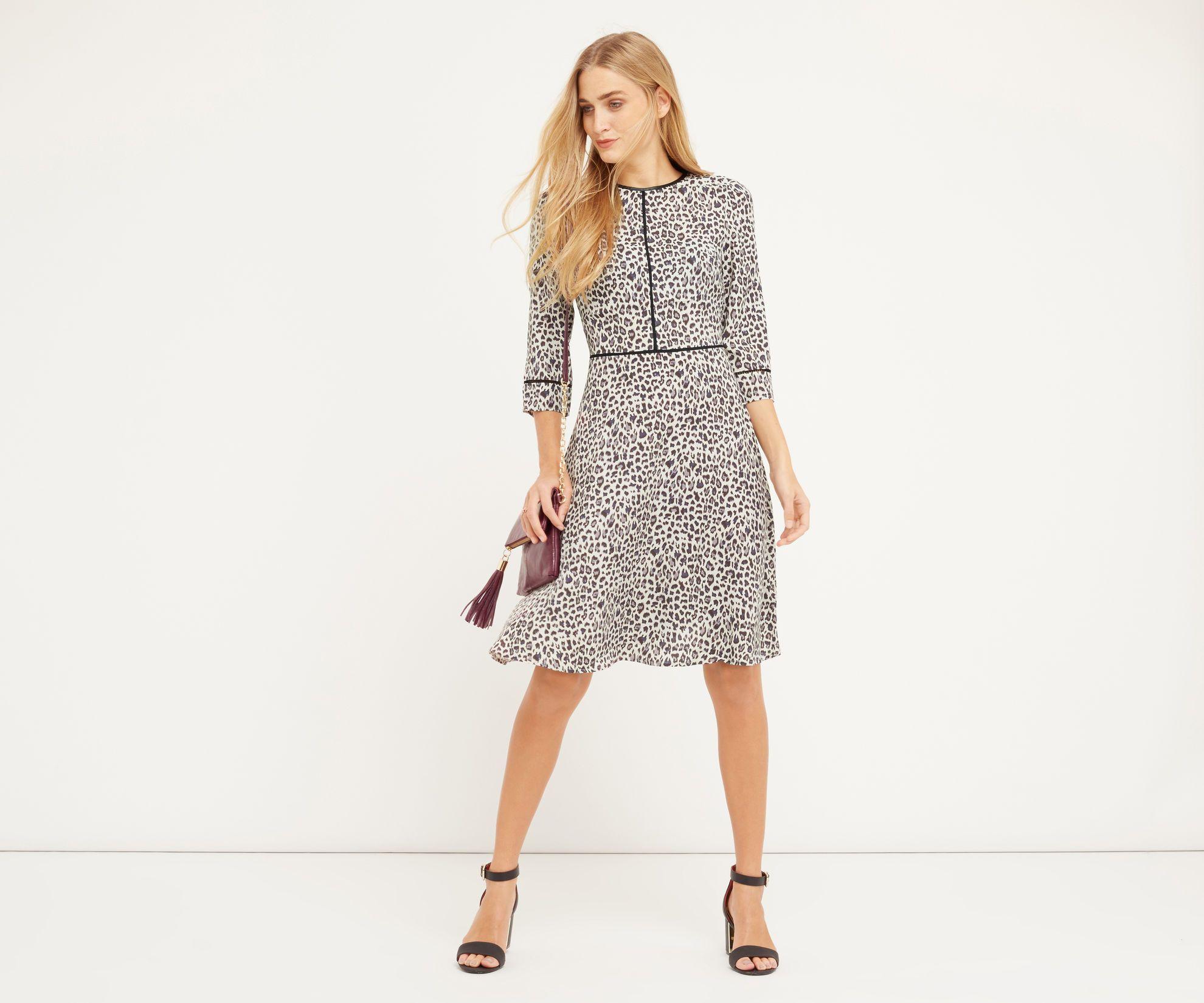 Oasis long animal skater dress multi grey fashion pinterest