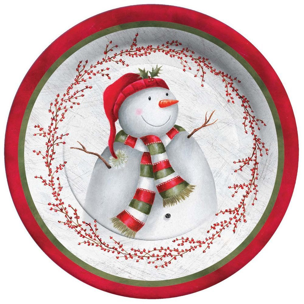 C R Gibson Paper Dinner Plate Winter Berry Snowman | eBay  sc 1 st  Pinterest & C R Gibson Paper Dinner Plate Winter Berry Snowman | eBay | Snowmen ...