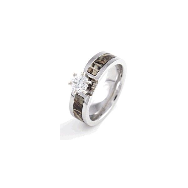 Camo Wedding Bands liked on Polyvore featuring jewelry rings