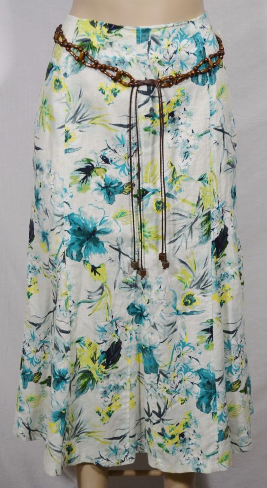 46dfba98f3b RQT NEW NWT Beige Blue Green Floral Print Linen Blend Skirt 12 Beaded Belt