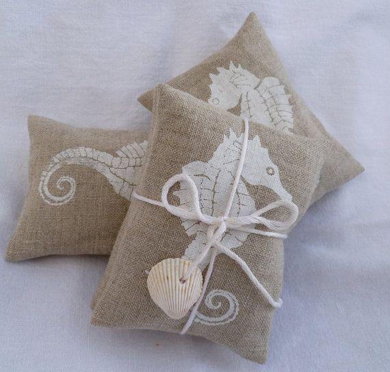 Seahorse Lavender Sachet White Handprinted on Natural Linen