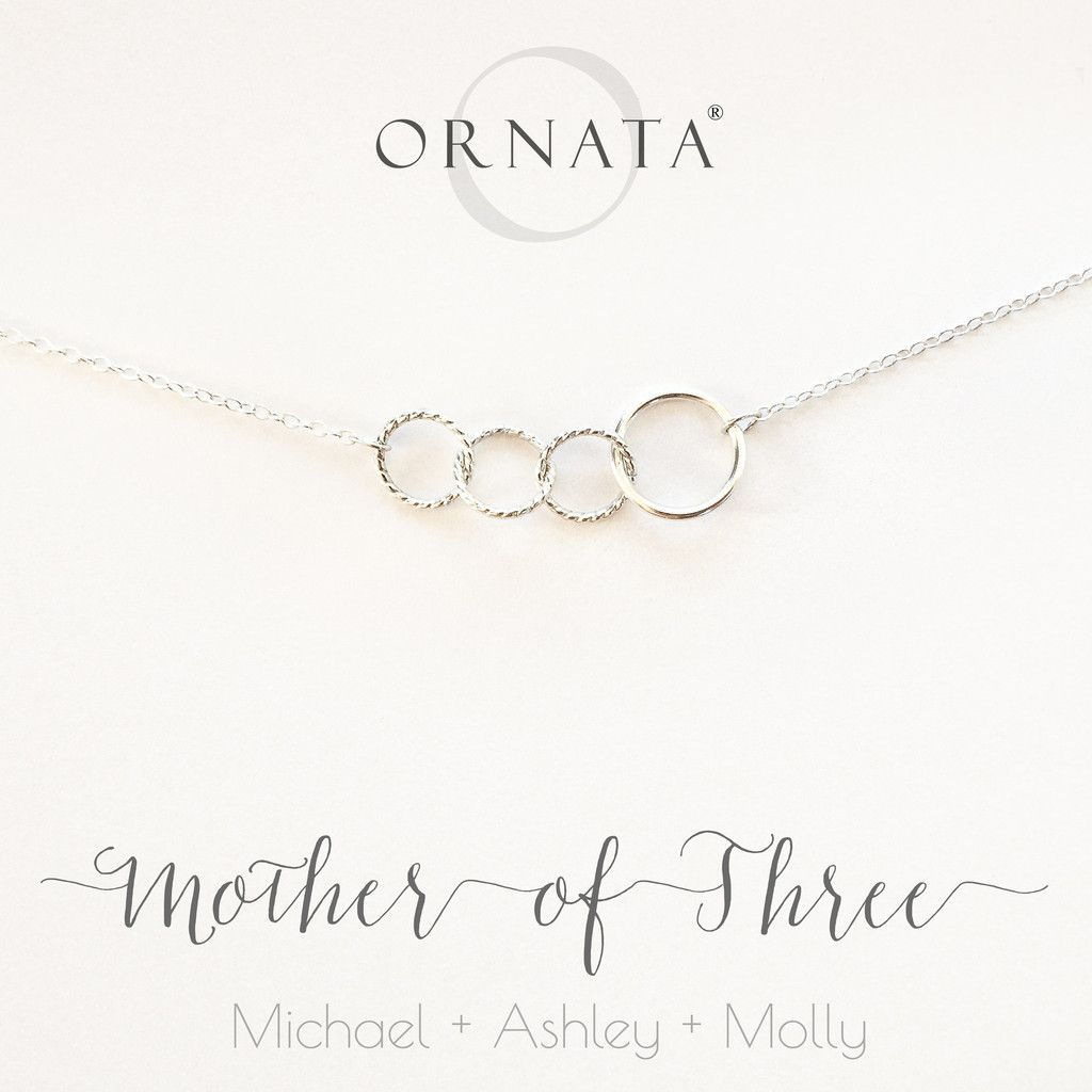 """Mother of Three"" Interlocking Sterling Silver Necklace"