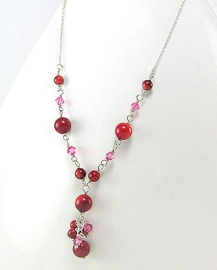 49695567 Collar Plata 925 c/Coral y Cristal, (En oferta)