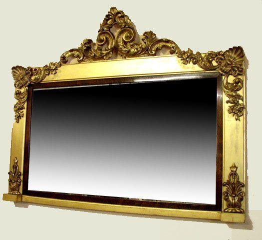 Espejo antiguo dorado de la epoca guillermo iv de - Espejos antiguos grandes ...