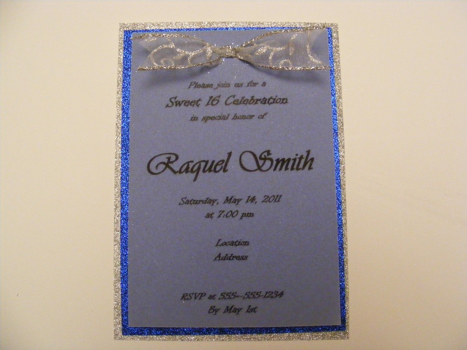 Handmade Sweet Sixteen Invitation Silver Blue Glitter Paper with