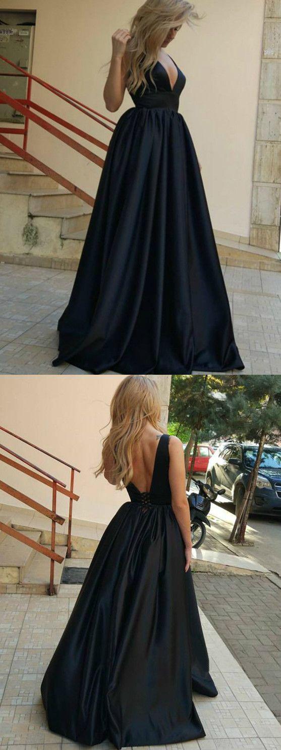 Black long prom dress simple modest elegant v neck cheap prom dress