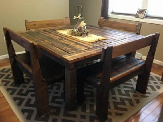 Square Farmhouse Dining Table Wooden Whale Workshop Custom