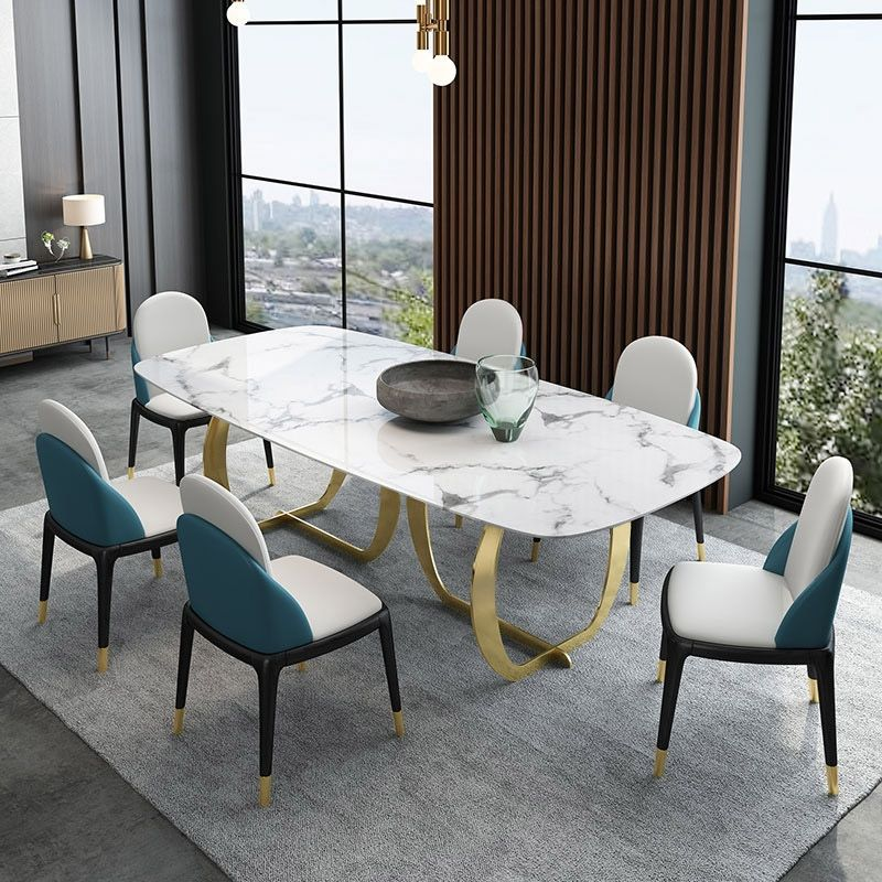 Contemporary Luxury 63 71 Rectangular Faux Marble Dining Table Metal Base In Gold Dining Table Marble Luxury Dining Tables Faux Marble Dining Table
