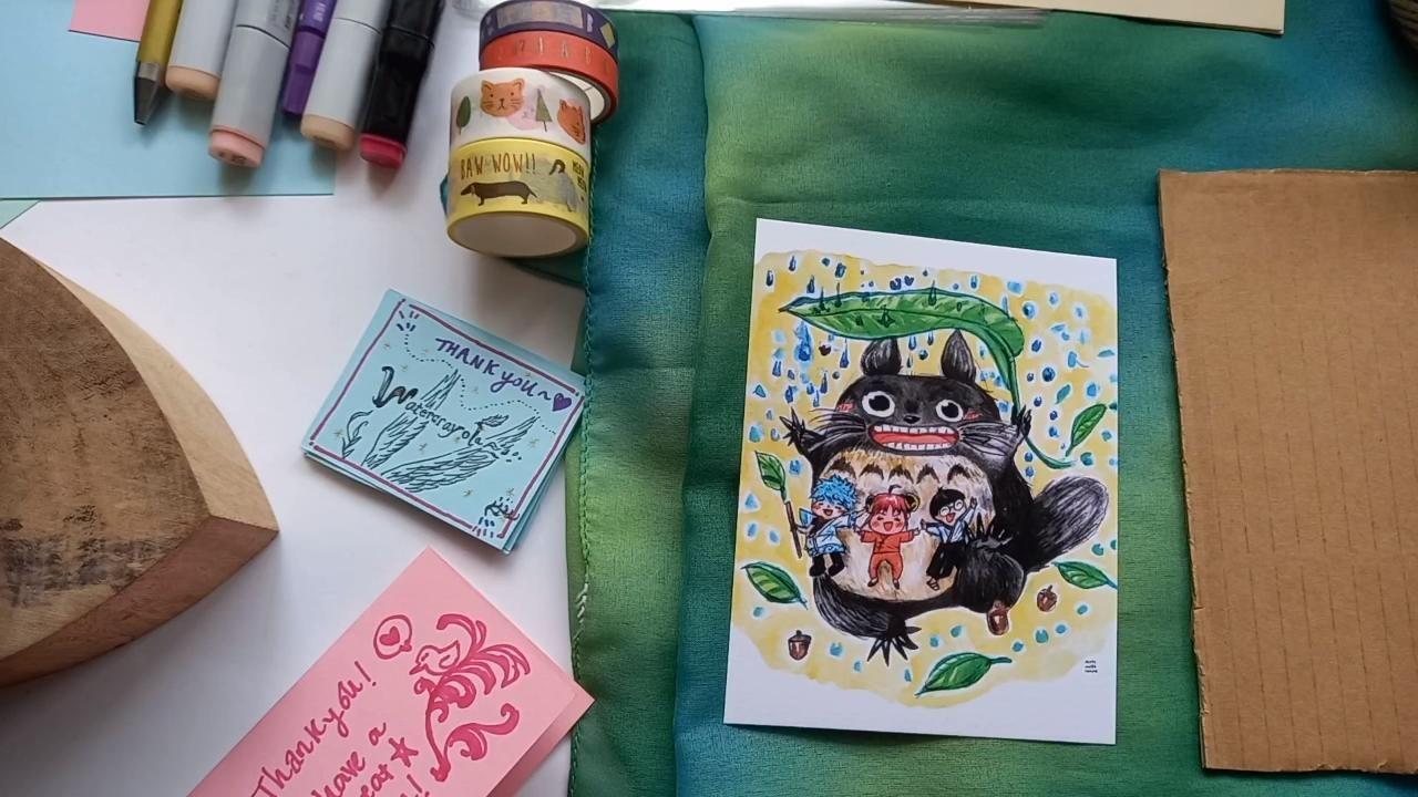 How I wrap my Etsy artprints! ^^ Kawaii Flying Totoro print demo~