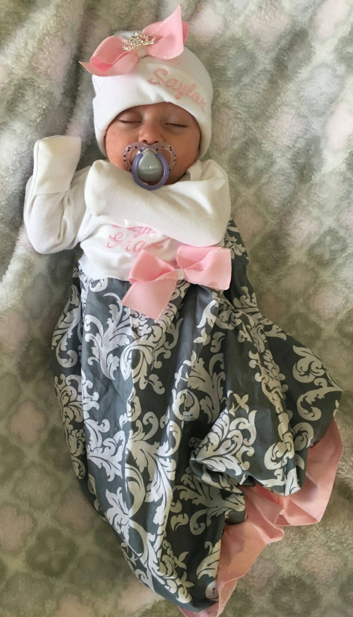 Newborn girl layette set newborn layette gown beanie baby | ♡Lennon ...