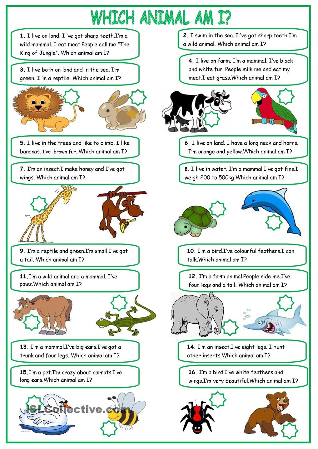Describing Animals English Worksheets For Kids English Activities English Lessons