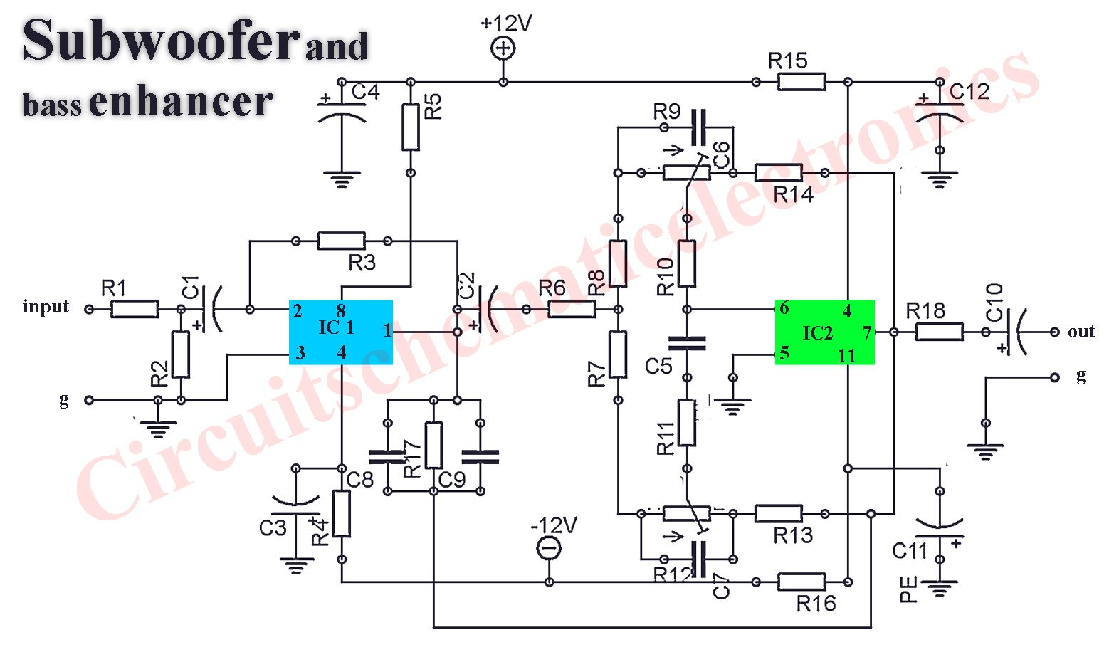 hight resolution of subwoofer booster circuit