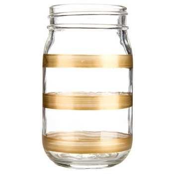 Gold Striped Glass Jar Small Glass Mason Jars Glass Jars Decorative Spheres
