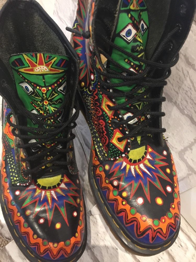 4a9adfb575 Men's RARE Dr Marten Boots Uk10 EU45 Psychedelic Bohemian Boots Made In  England   eBay
