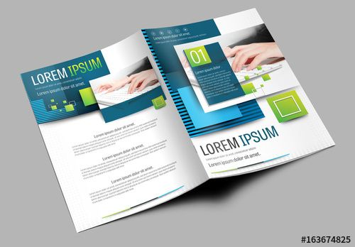 Brochure Cover Layout With Green And Blue Accents Brochure