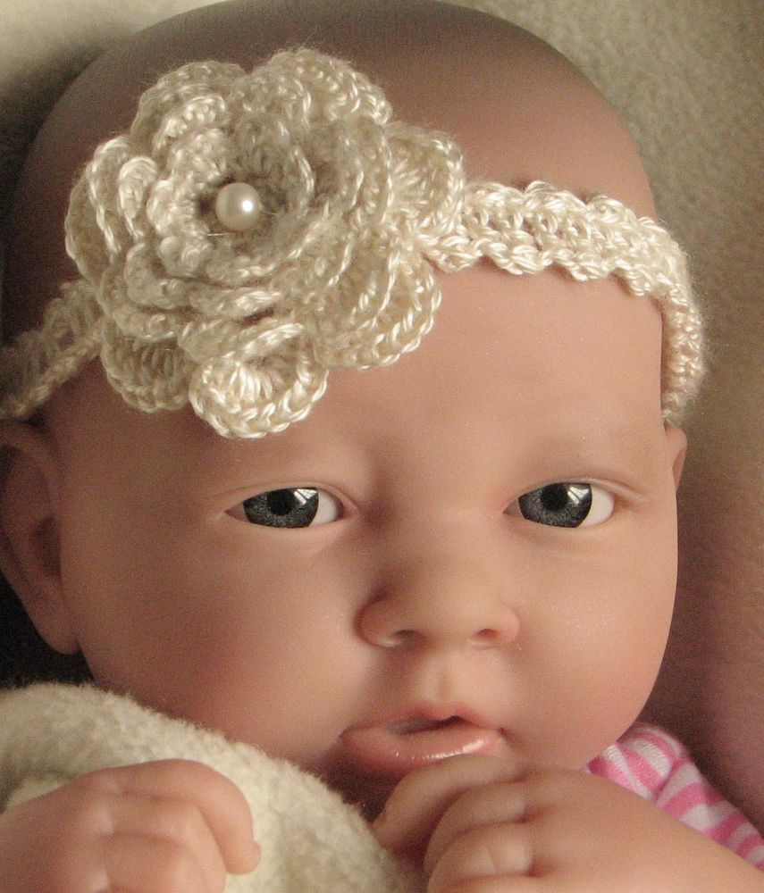 Details about crochet pattern instructions baby headband with details about crochet pattern instructions baby headband with flower trim ref h29 bankloansurffo Image collections
