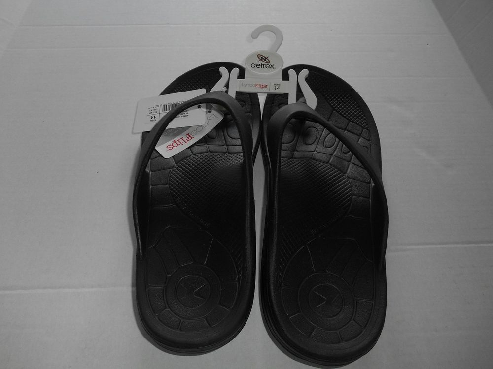 Aetrex Lynco Womens Size 11 Flip Flop Sandals Black New With Hanger Fashion Clothing Shoes  -5451