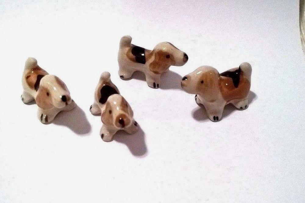 Beagle Puppy Dogs Set Ceramic Dollhouse Miniature Figurine Animals Collectibles