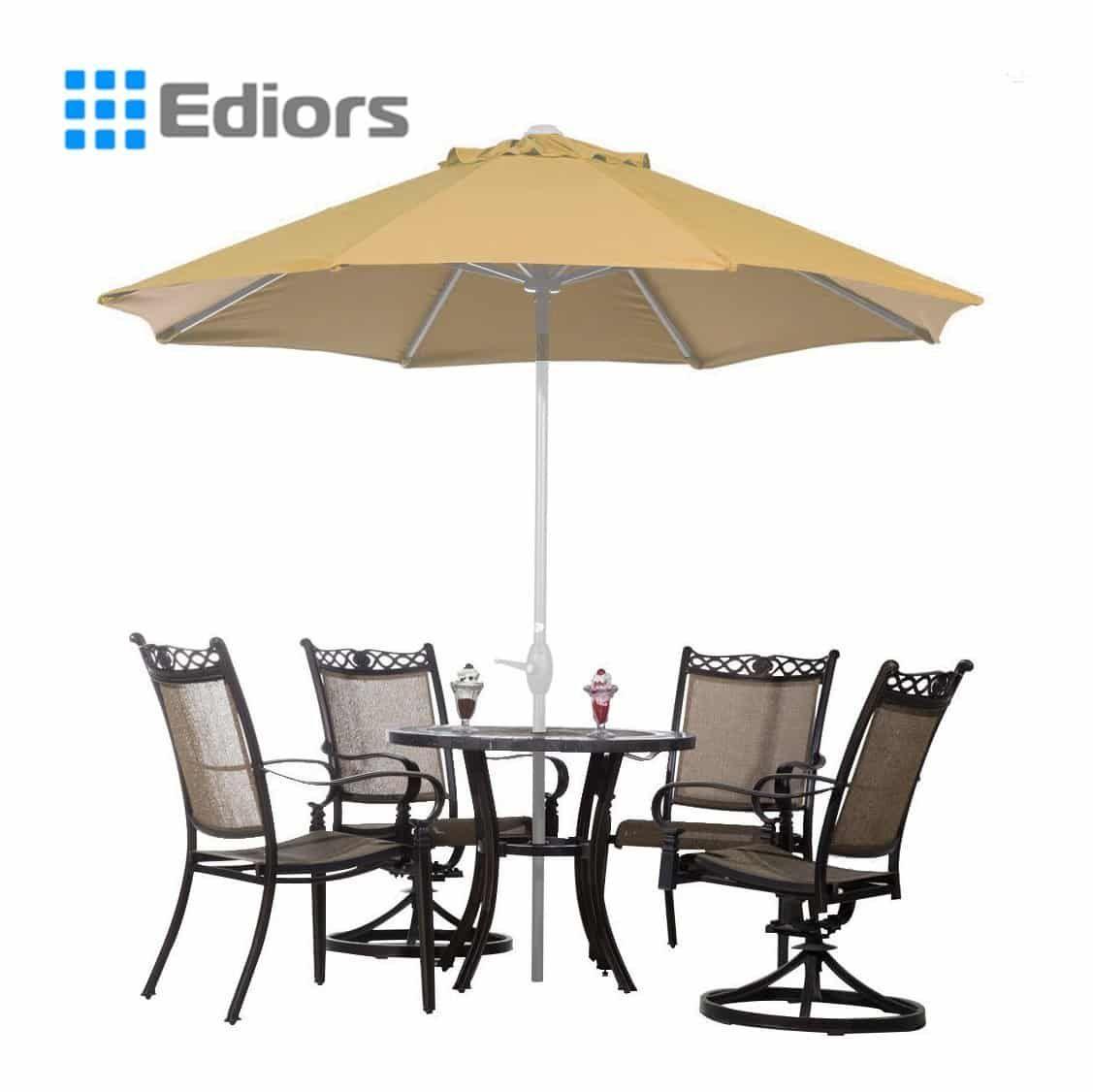 Ediors® Deluxe Ivory 9 Ft Cantilever Hanging Patio Umbrella Freestanding  Outdoor Parasol Adjustable Market Umbrella