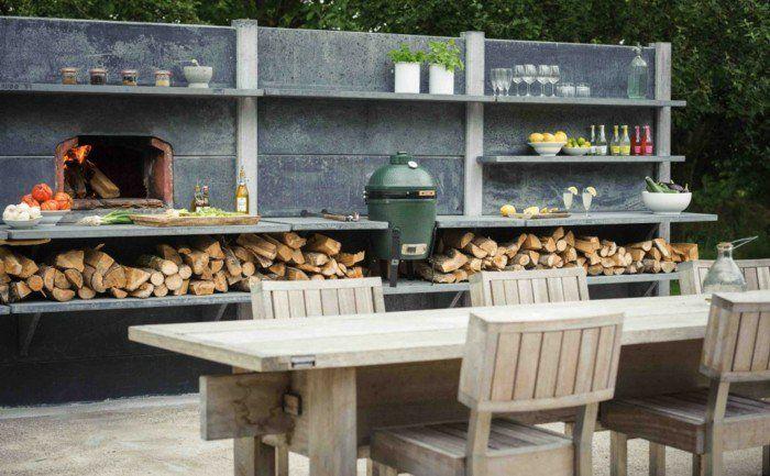keramik grill bbq outdoor küche brennholz holztisch essbereich - küche mit grill
