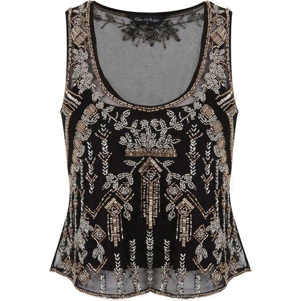 88dc104ed5552 Miss Selfridge Black Embellished Vest Top ( 44) ❤ liked on Polyvore  featuring tops