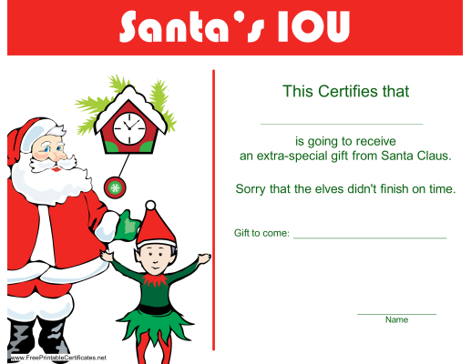 Christmas iou certificate 300x232 christmas iou printable this christmas iou printable certificate template would be a great way you can use to talk to your kids yadclub Choice Image
