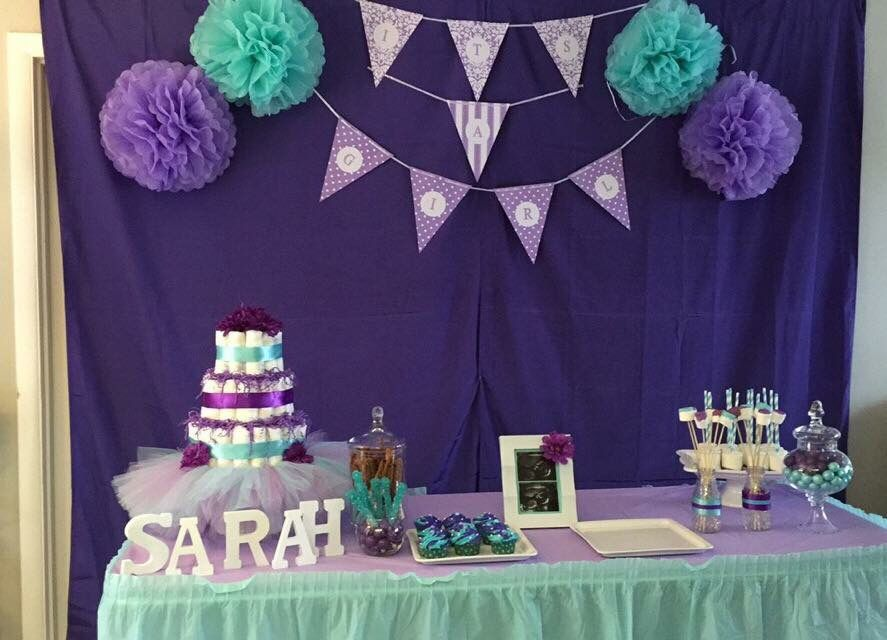 teal purple baby shower baby girl girl baby shower table decor candy