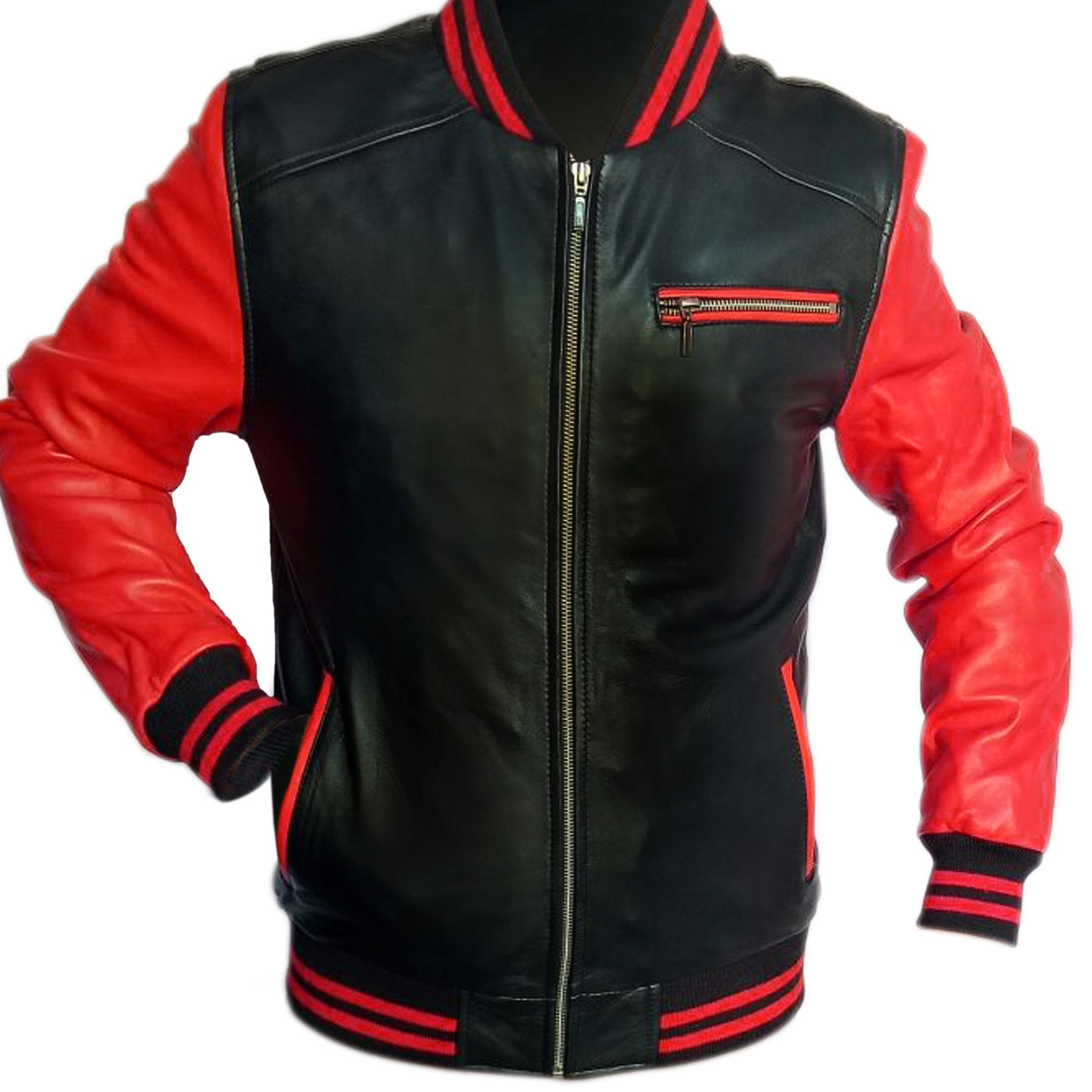Red And Black Motorcycle Real Leather Jacket In Usa Uk Canada Germany France New York Los Angeles Chicago Houston Philadelphia Phoenix San Antonio S Red Leather Jacket Men Leather Jacket Style [ 1800 x 1800 Pixel ]