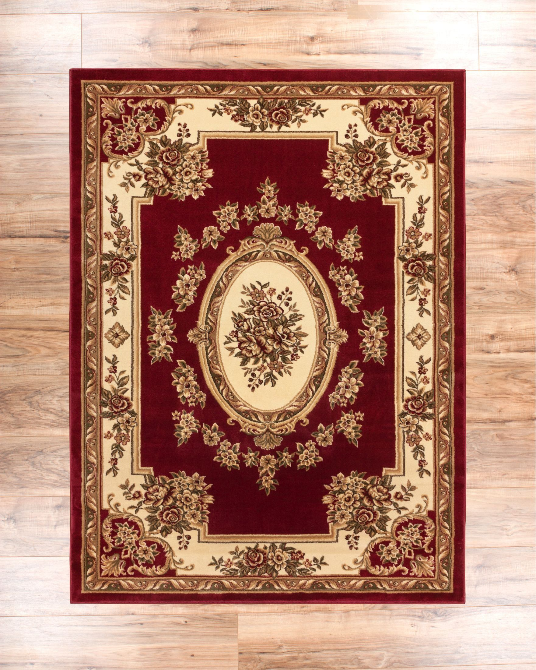 Oriental 8x10 710 X 106 Pastoral Medallion Red French Area Rug 11 15 European Floral Traditional Easy Clean Stain Fade