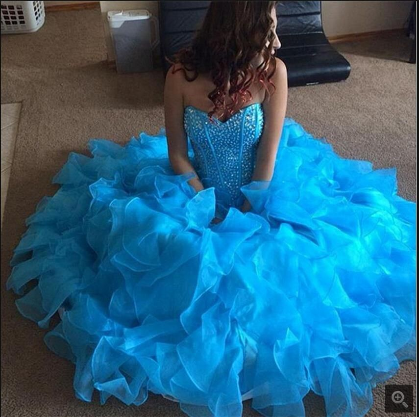 >> Click to Buy << 2017 New design Ball Gown Sweetheart Beaded prom dress Ruffles Organza with sweetheart neck prom gowns hot sale #Affiliate