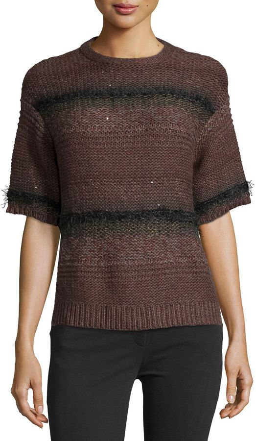 Brunello Cucinelli Cashmere Shaded-Stripe Sequin Short-Sleeve ...