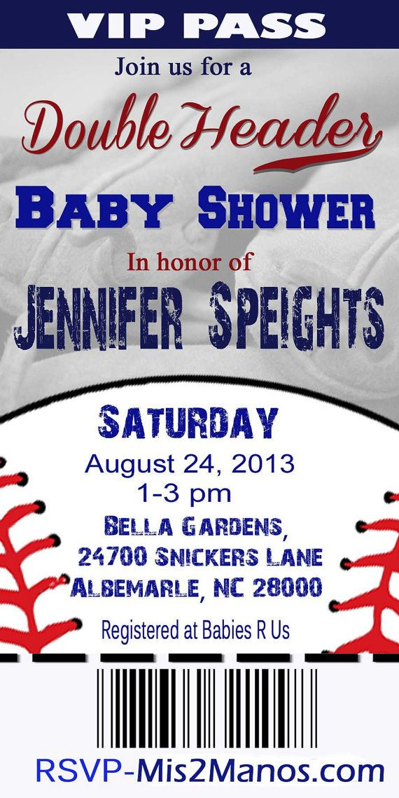 BASEBALL BABY Shower Ticket Invitation Twins by M2MPartyDesigns ...