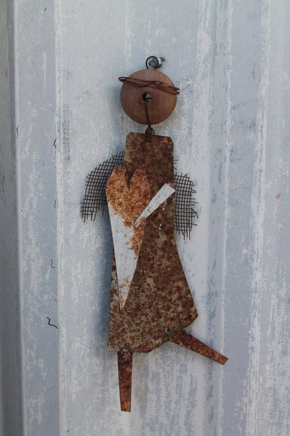 Rusted Tin Primitive Angel Wall Decor Ornament By Jackrabbitflats 11 95