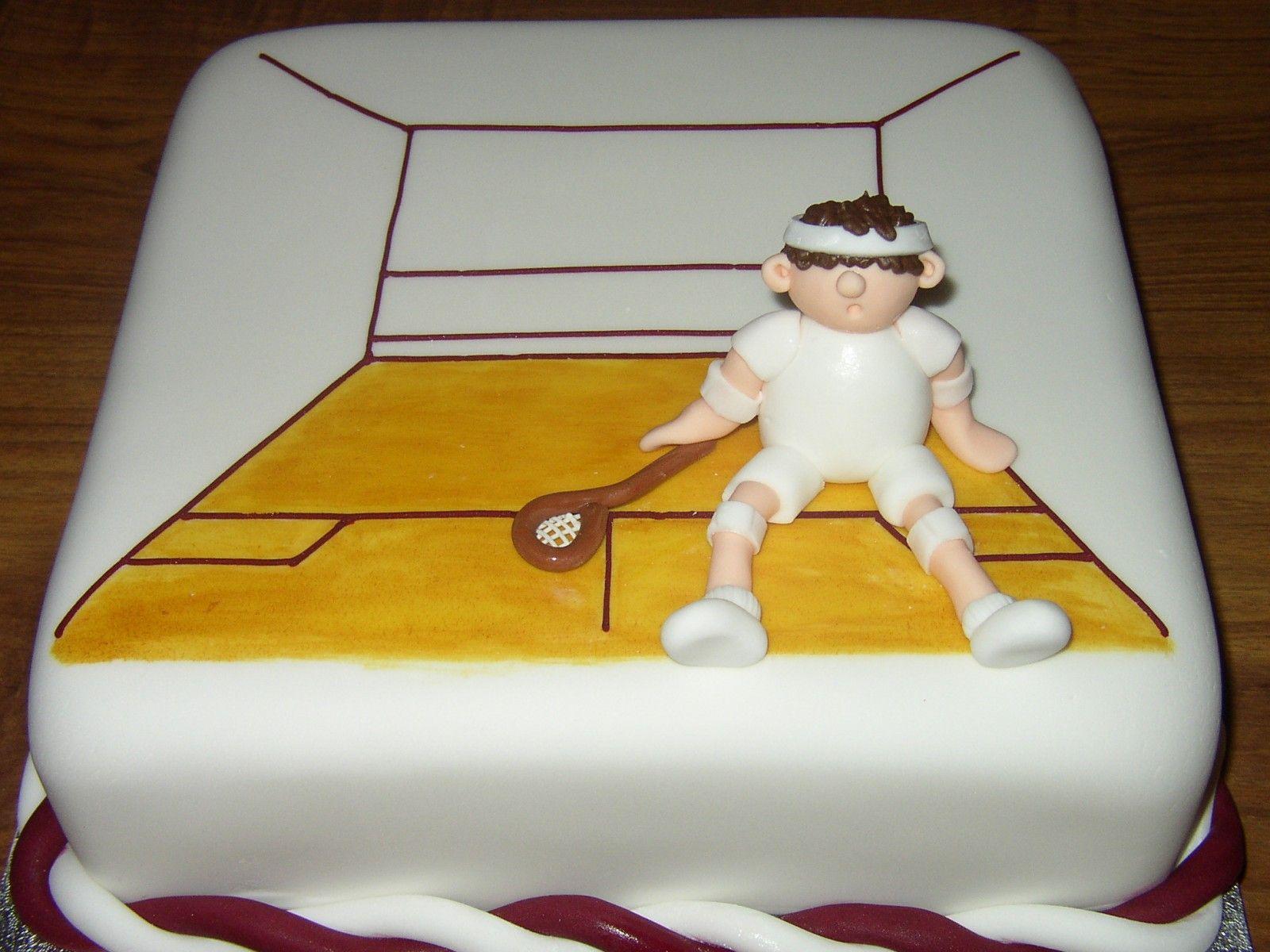 5 Squash Court And Player Novelty Birthday Cake