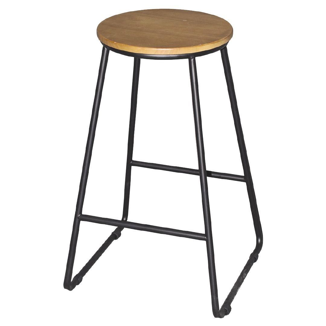 Living Co Stool Metal Black Leg With Wooden Top The Warehouse