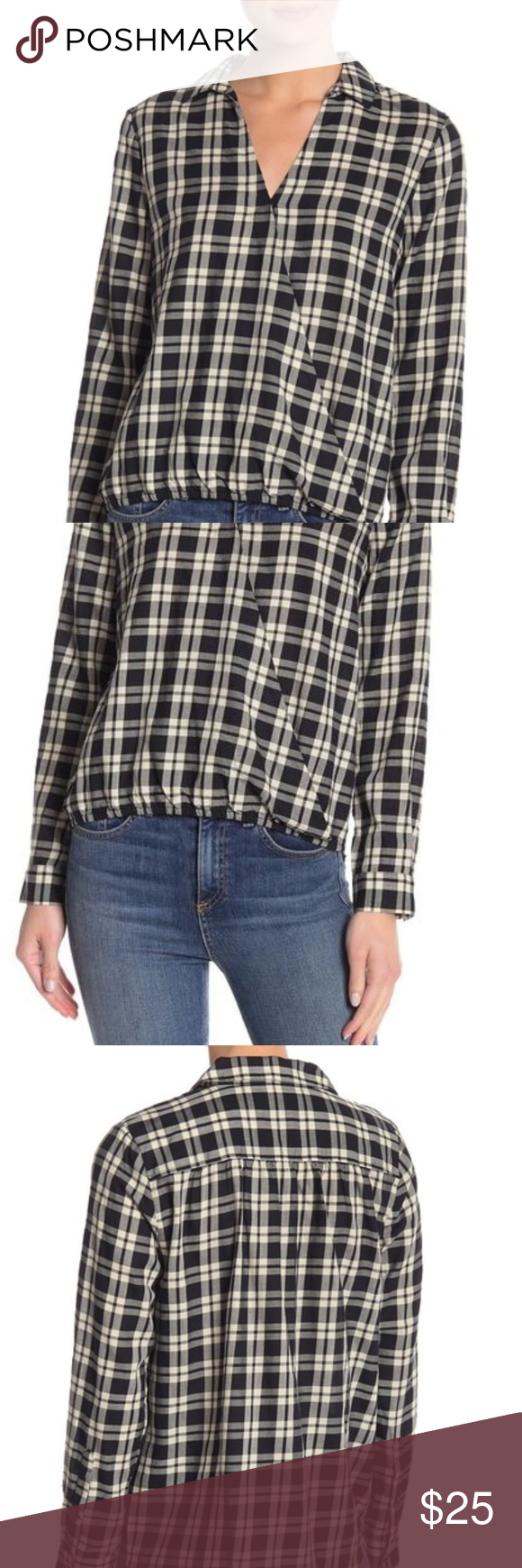 MADEWELL Arion Plaid Shirt in Black/White, Size M Arion Black and White Plaid Shirt by Madewell. Exc...
