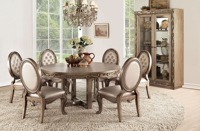 Orianne Antique Gold Formal Dining Room Set Round Table With Ornate Single Pedestal Base But Formal Dining Room Sets Round Dining Table Sets Dining Room Sets