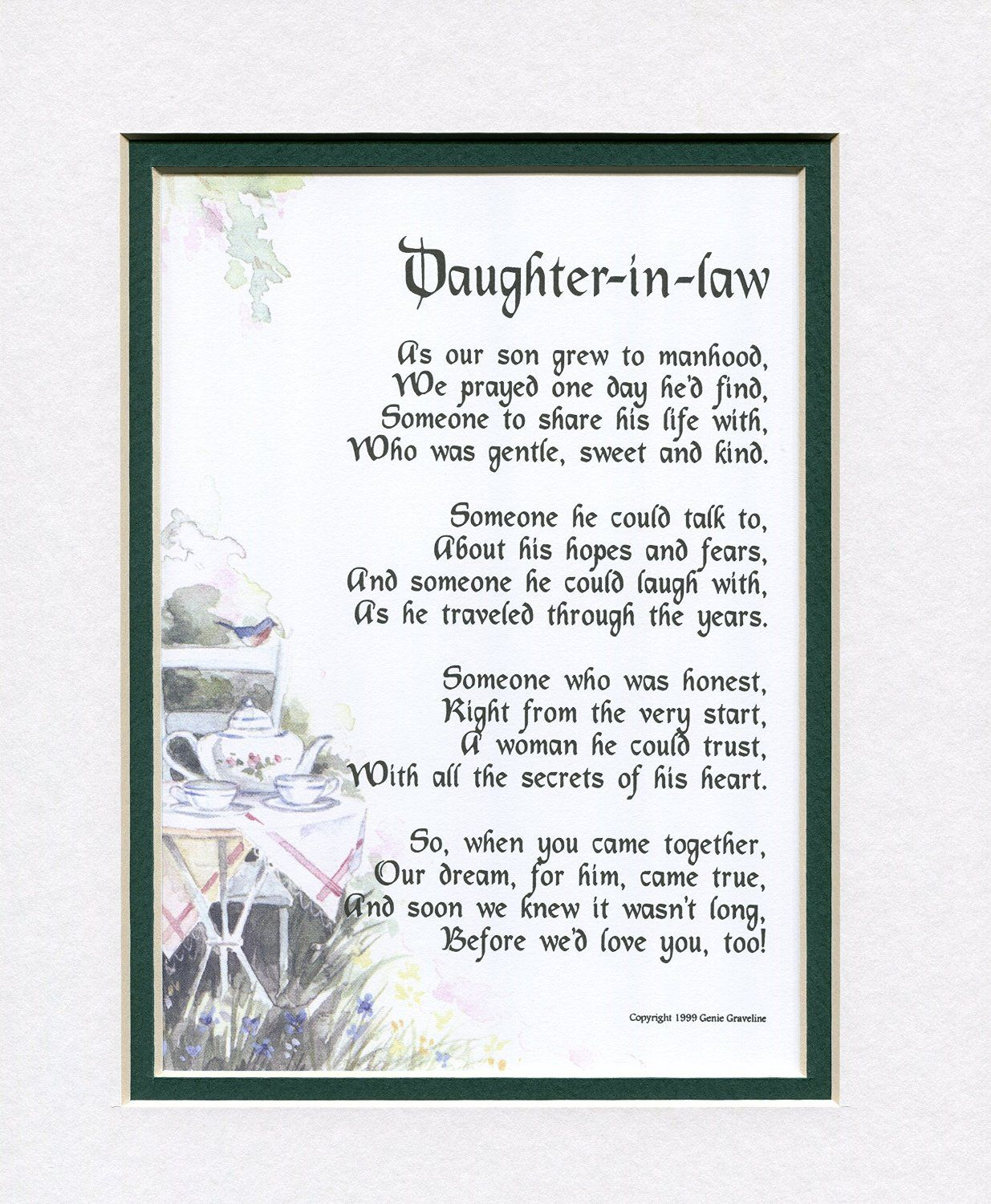 A Gift For Daughter In Law Touching Poem Double Matted White Navy And Enhanced With Watercolor Graphics