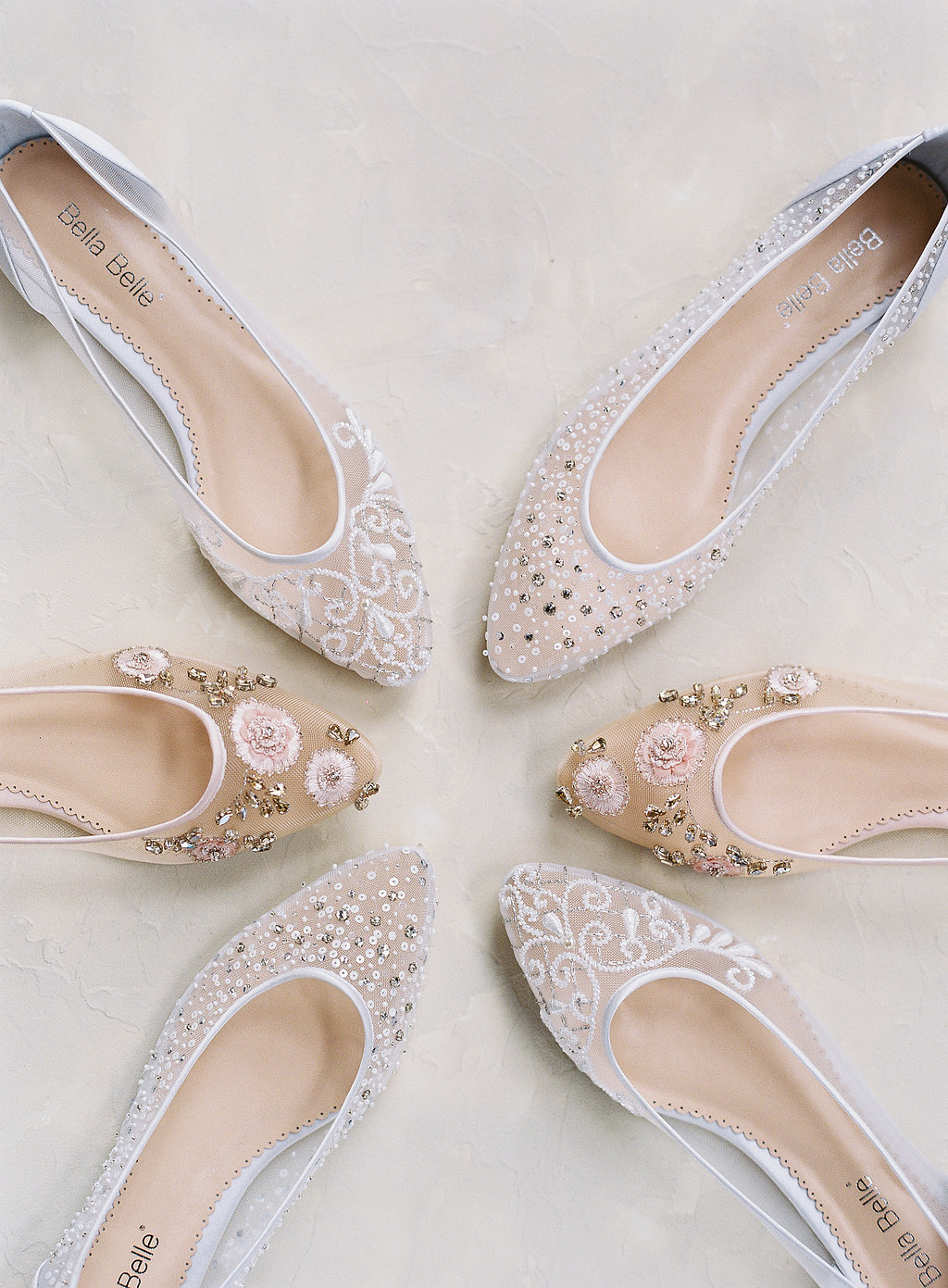 cdc334fe44a Wedding flats for days! Our Bella Belle Euphoria 2018 wedding shoe  collection features flats in ivory and blush. Featuring sparkly crystal  embellishments