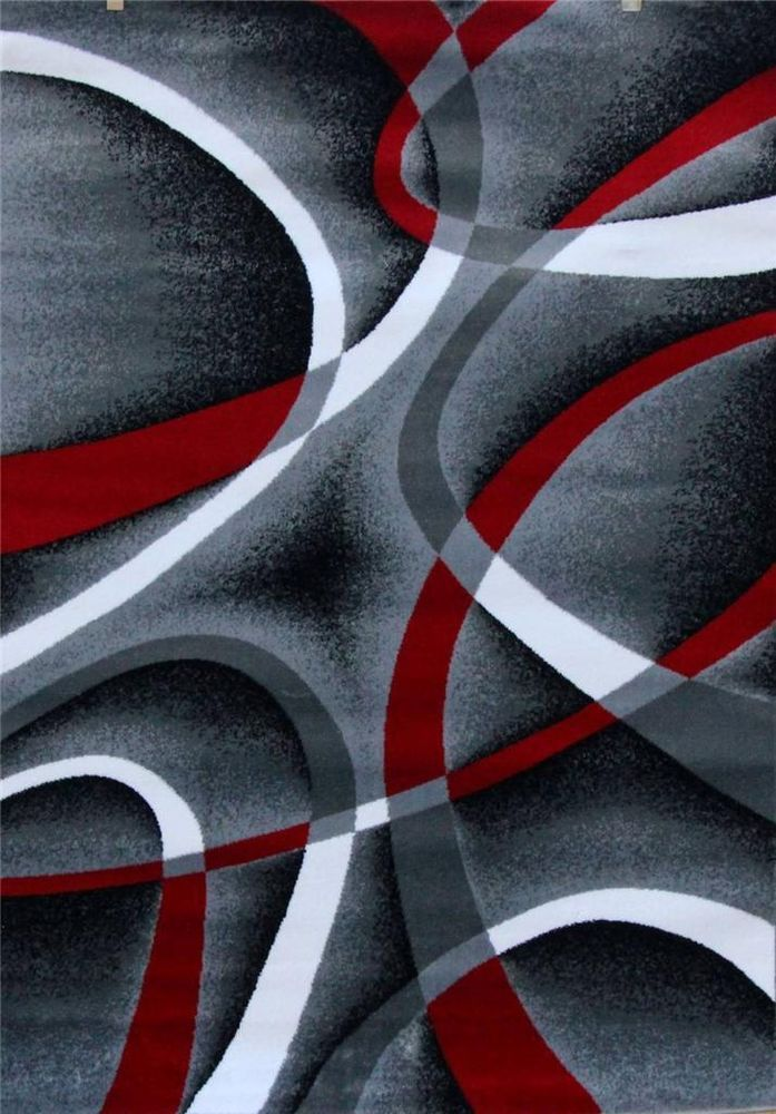 2305 Gray Black Red 5x7 8x11 Area Rug Modern Contemporary