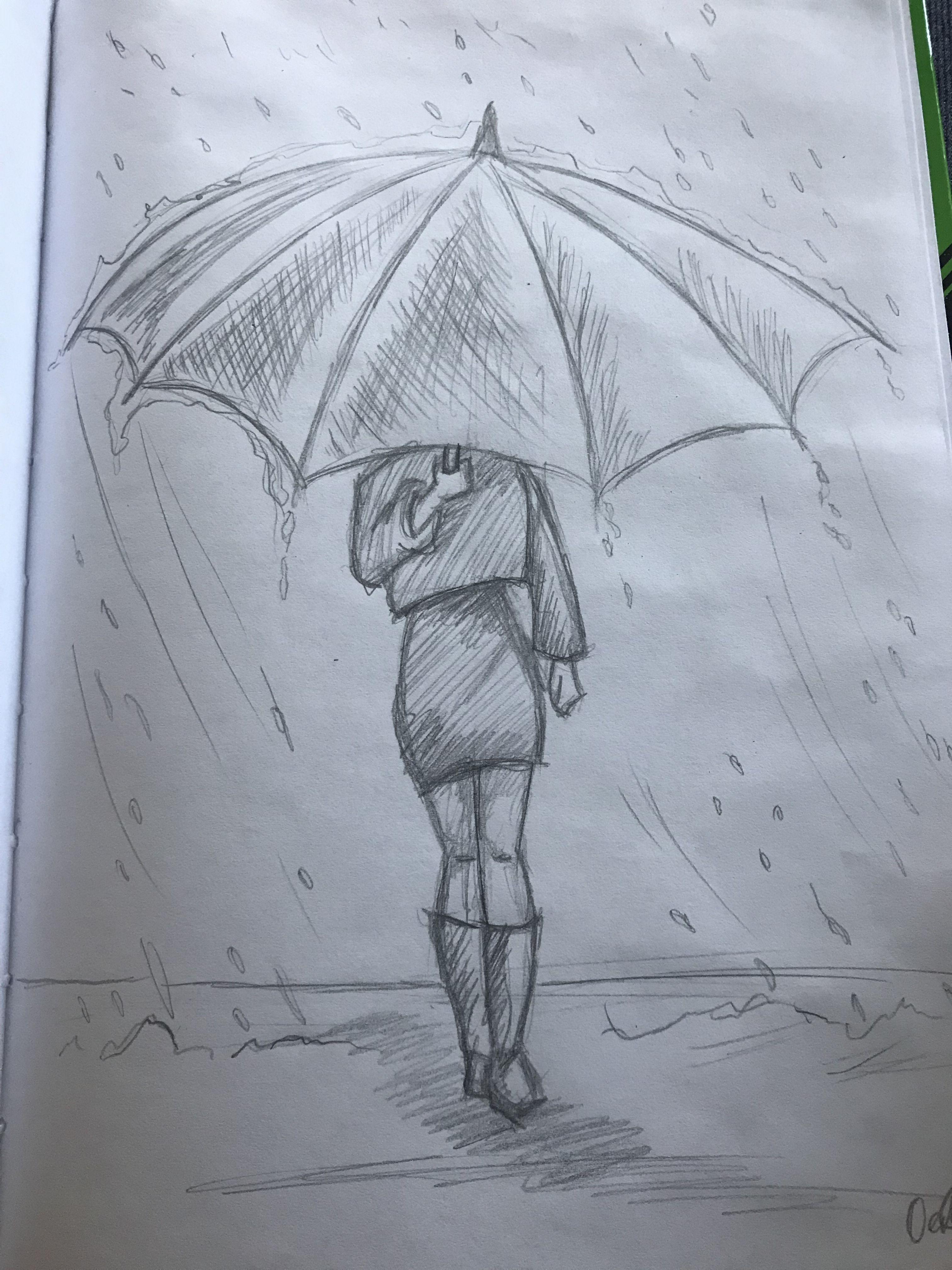 Meisje In De Regen Met Een Paraplu Art Ideas In 2019 Pencil