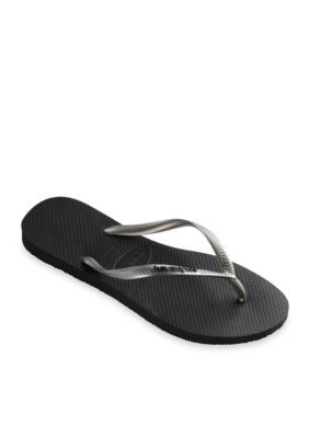 675e3a2db9b1e Havaianas Women s Slim Logo Pop-Up Flip Flop - Black Silver - 11 12