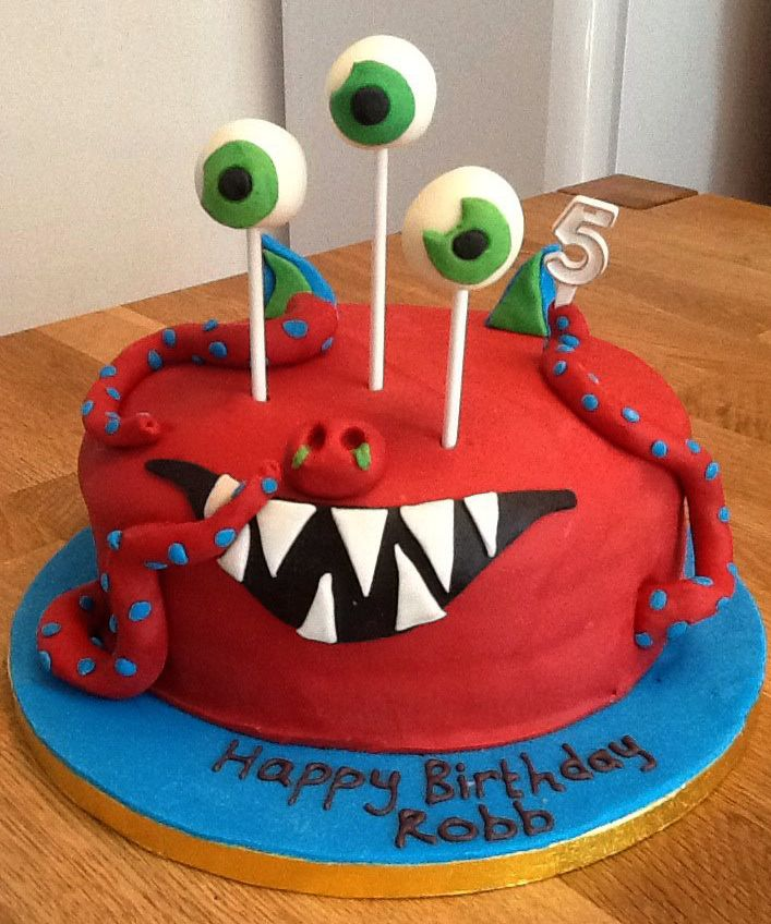 Red Monster cake - Chocolate sponge cake with fondant icing