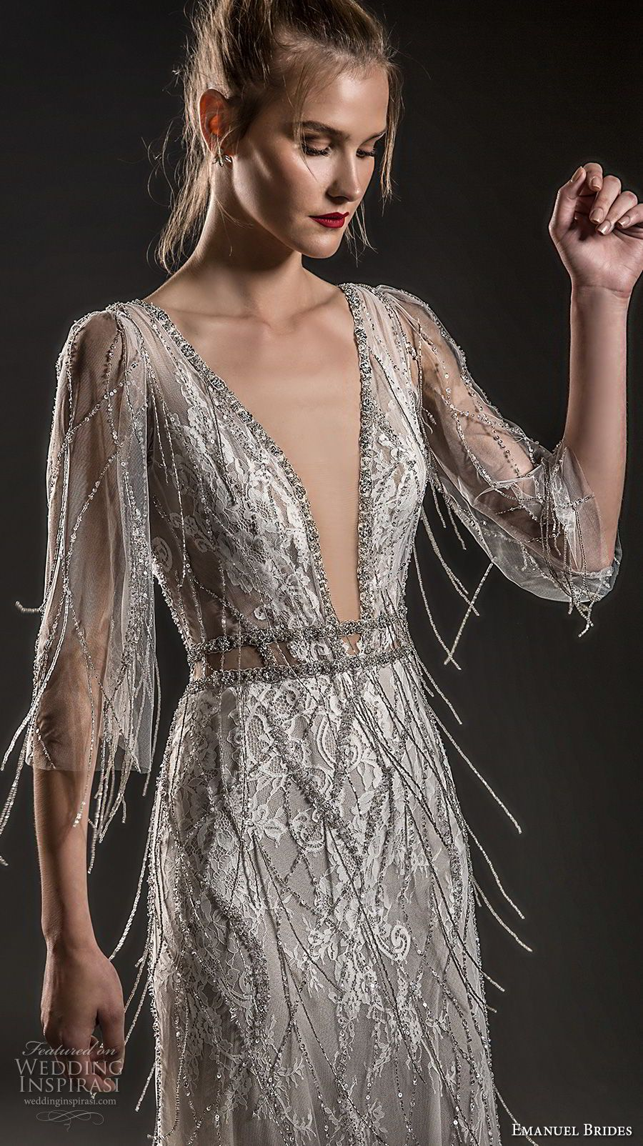 Emanuel brides wedding dresses quarter sleeve bodice and