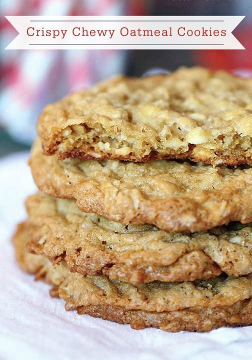 Crispy Chewy Oatmeal Cookies Cookies And Cups Oatmeal Cookies Chewy Dessert Recipes Cookies Oatmeal Raisin Cookies Chewy