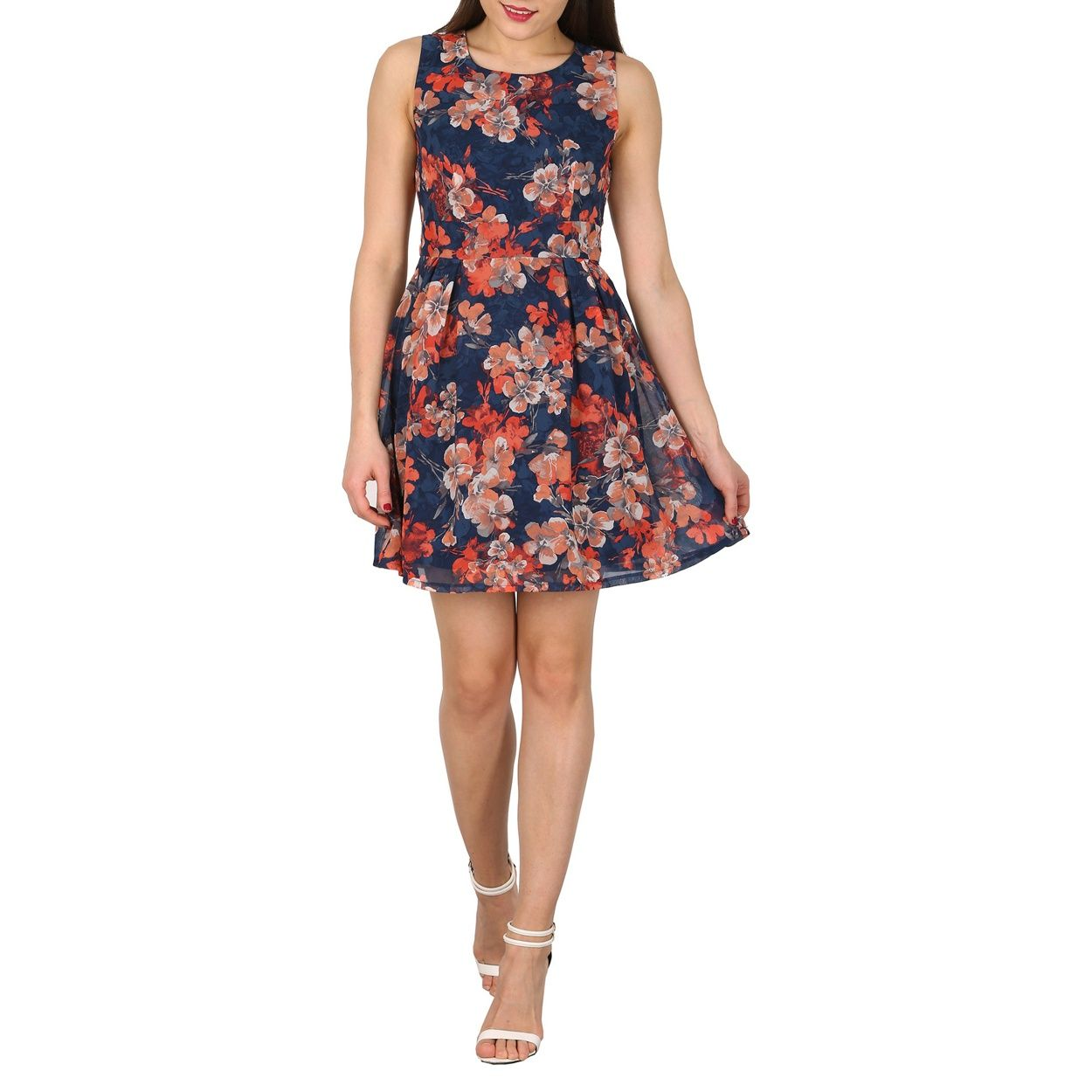 Apricot Navy floral tie back dress