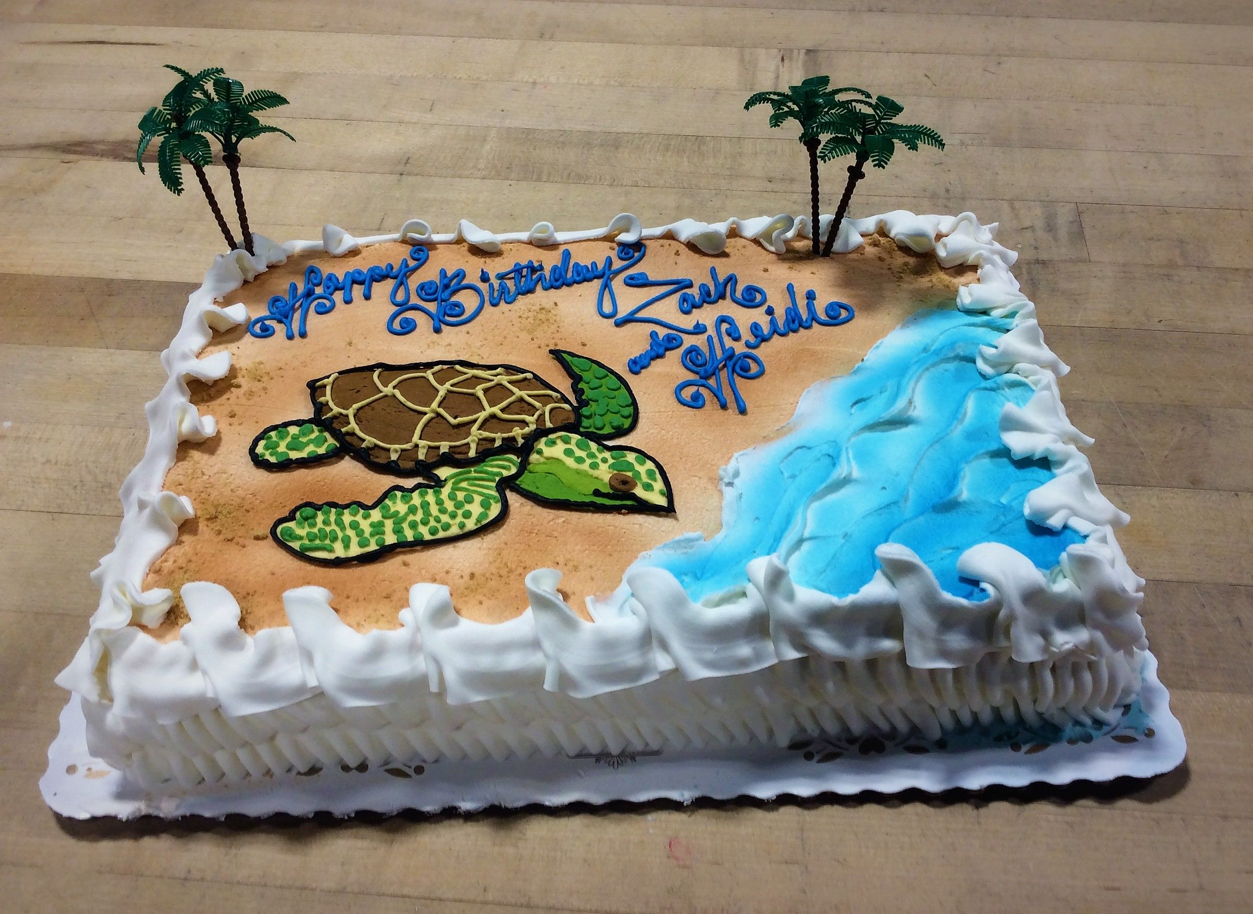 Terrific Sheet Cake With Sea Turtle And Beach Scene Birthday Sheet Cakes Funny Birthday Cards Online Inifofree Goldxyz