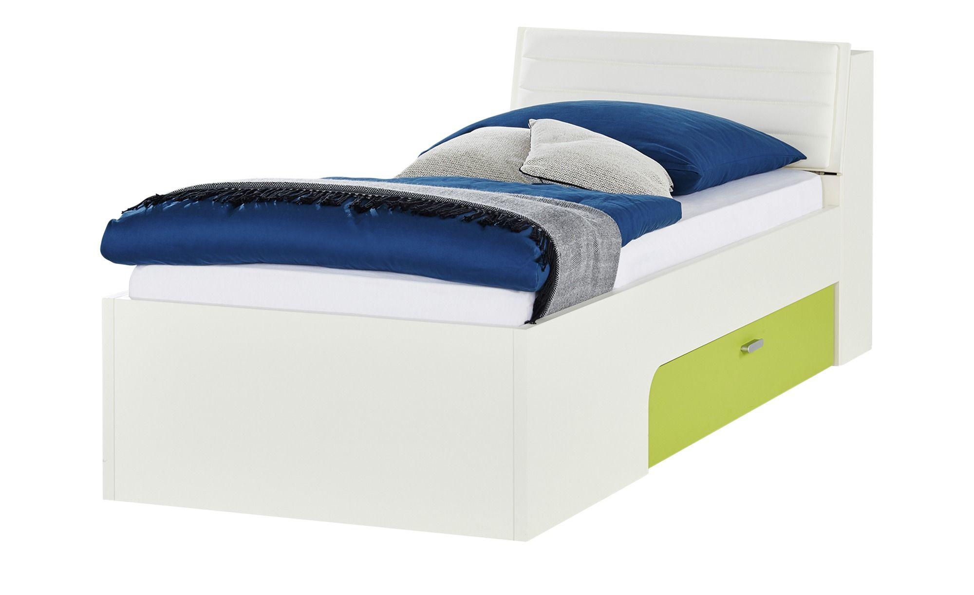 Liege Mit Bettkasten 90x200 Weiss Grun Maddox Bett Kinder Bett